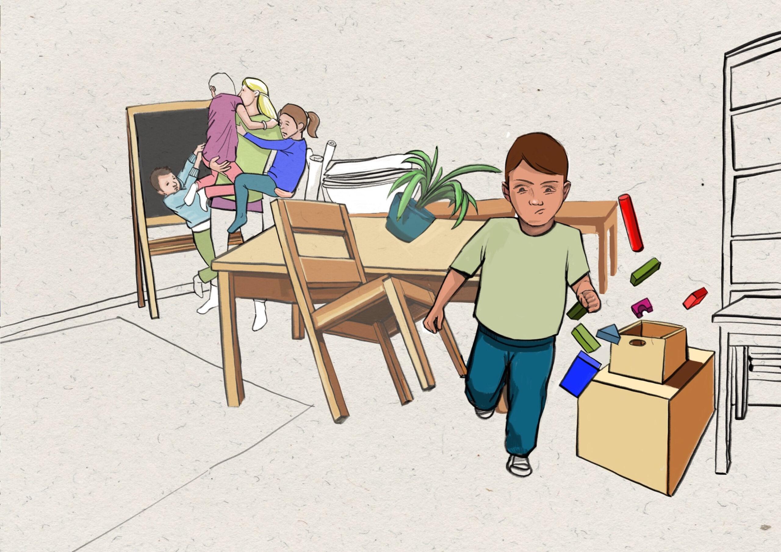 Textilwerkstatt - Junge an Webrahmen 1 - Chaos