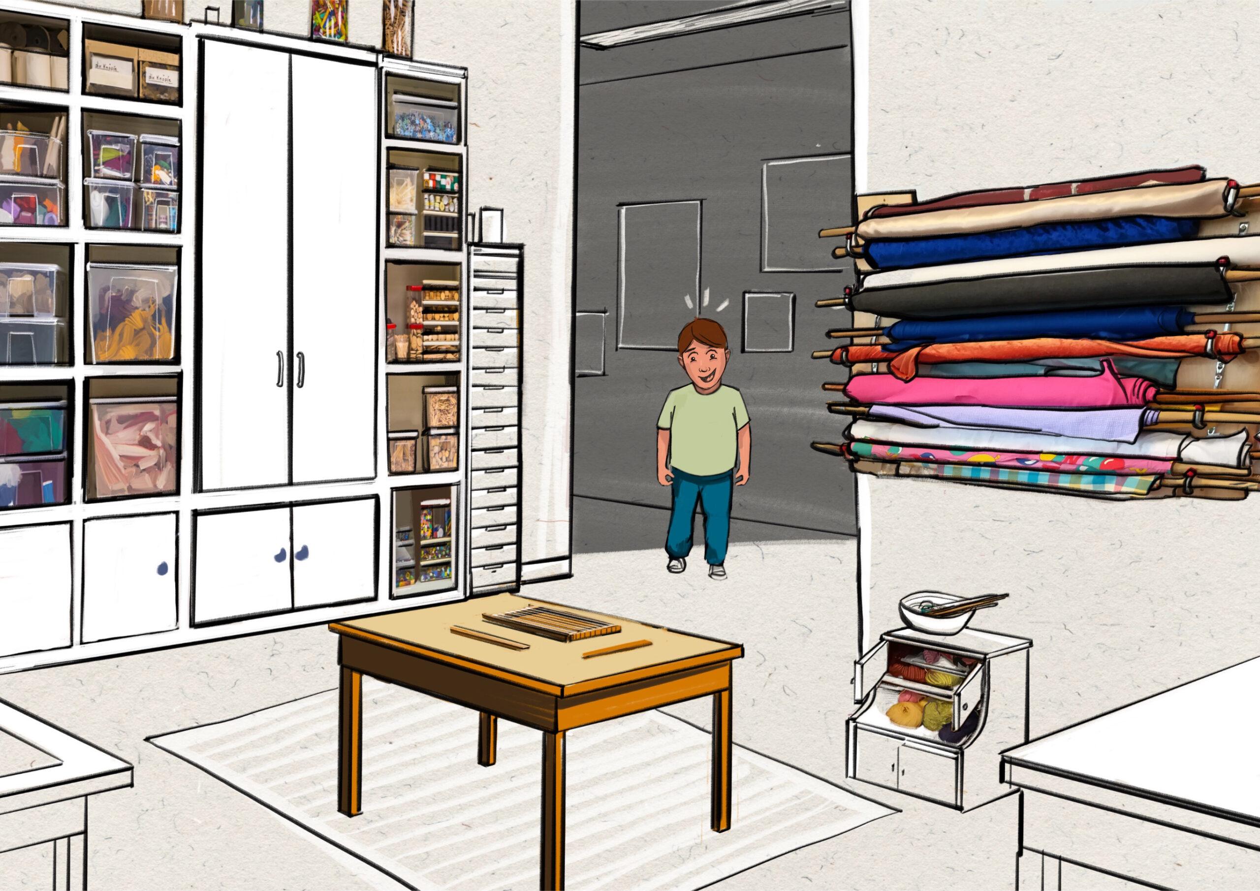 Textilwerkstatt - Junge an Webrahmen 2 - Freude