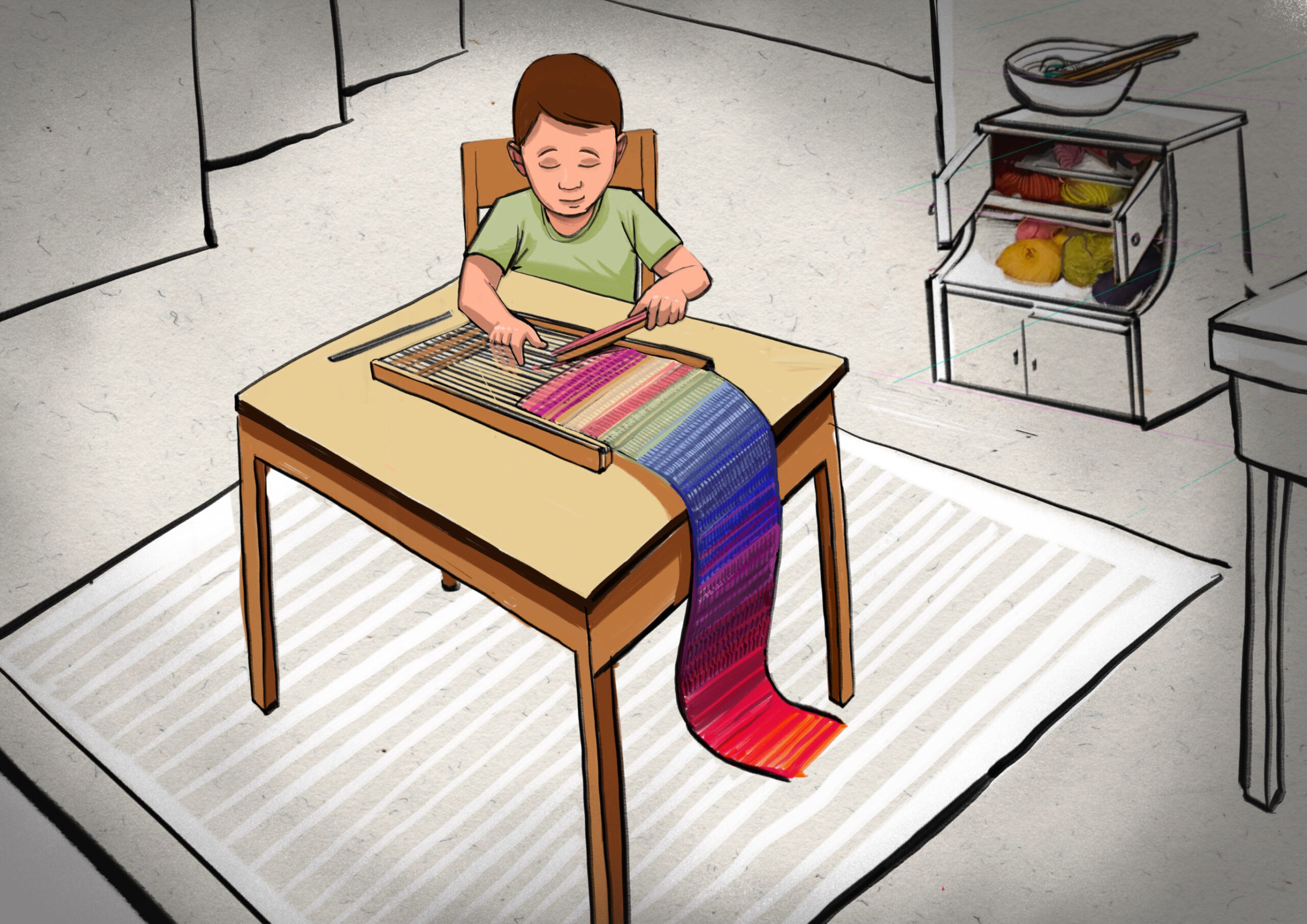 Textilwerkstatt - Junge an Webrahmen 3 - Schal
